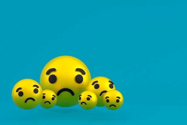Грустный значок facebook реакции смайликов 3d визуализации, символ воздушного шара в социальных сетях на синем фоне