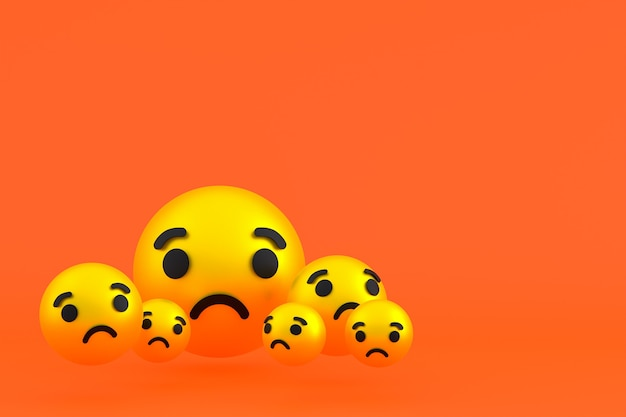 Грустный значок facebook реакции смайликов 3d визуализации, символ шара в социальных сетях на оранжевом фоне