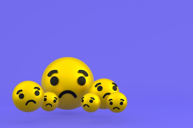 Грустный значок facebook реакции смайликов 3d визуализации, символ воздушного шара в социальных сетях на фиолетовом фоне