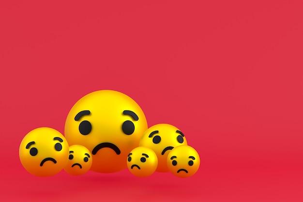 Грустный значок facebook реакции смайликов 3d визуализации, символ шара в социальных сетях на красном фоне