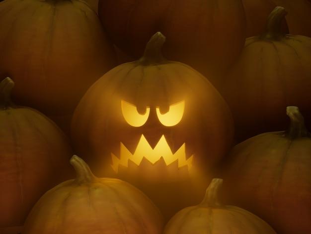 슬픈 들쭉날쭉한 미소 조각 호박 얼굴 이모티콘 3d 그림 렌더링 어두운 조명