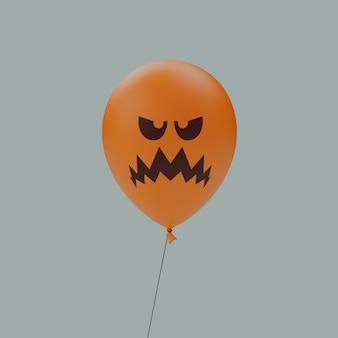 슬픈 들쭉날쭉한 미소 유령의 할로윈 무서운 얼굴 풍선 이모티콘 격리 된 3d 그림 렌더링