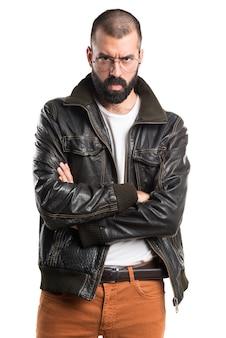 Sad man with leather jacket