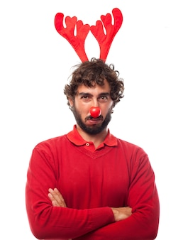 Sad man with reindeer antlers