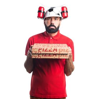 Грустный человек доставки пиццы