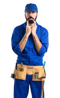 Sad plumber