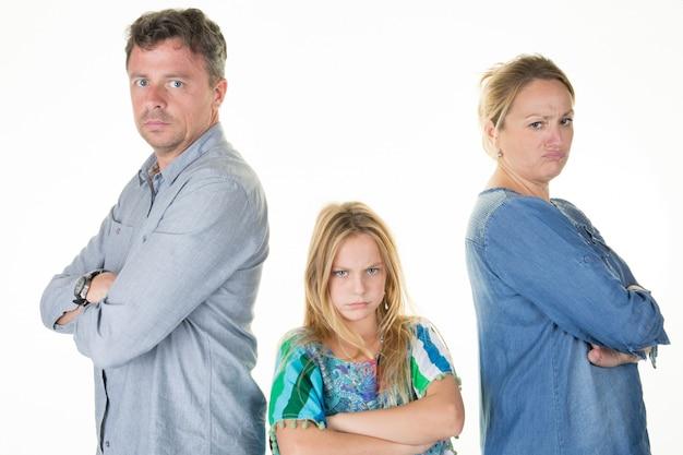 Sad problems family having quarrel at home man and woman arguing divorce