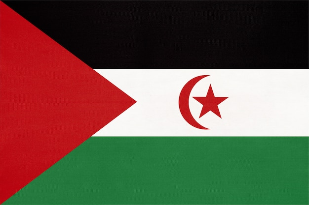 Sadr national fabric flag, textile background. symbol of world african country.