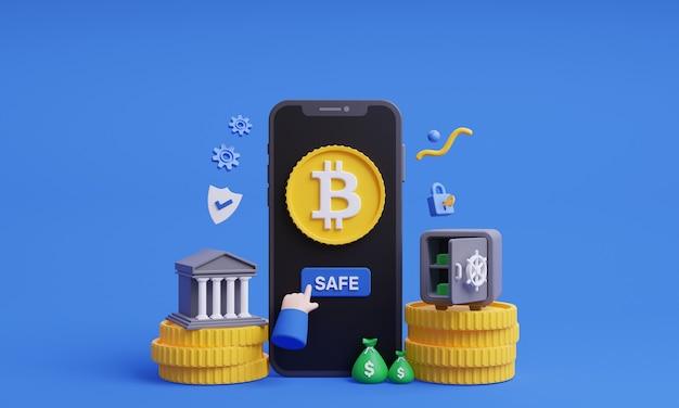 Safe bitcoin 3d illustration safe cryptocurrency online with mobile concept 3d render