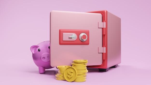 コインと貯金箱のピンクの3dレンダリングによるセーフボックスフォントビュー。