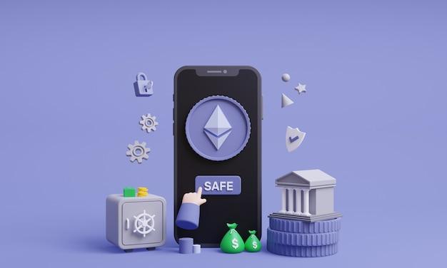 Safe ethereum 3d illustration safe cryptocurrency online with mobile concept 3d render