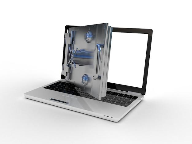Безопасный ноутбук на белом, 3d