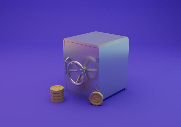 安全なお金とコインの分離、3dレンダリング