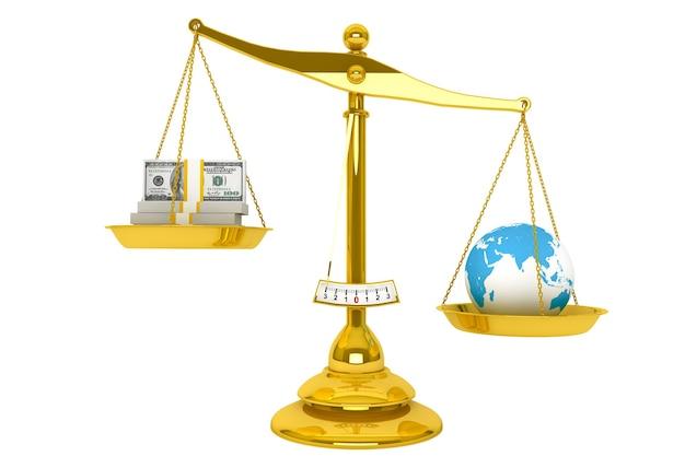 Спасите землю. понятие экологии. масштаб, деньги и глобус на белом фоне