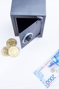 Safe with betcoin and money