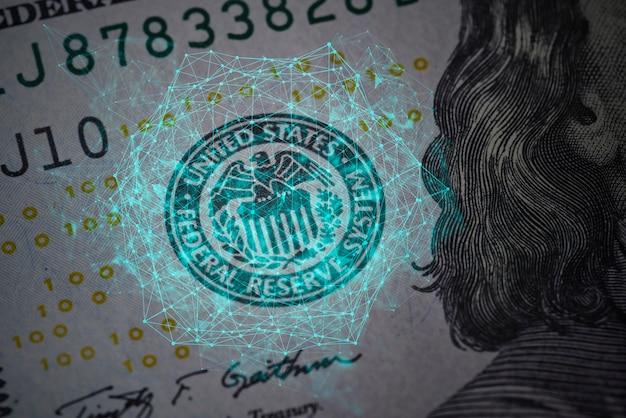 Безопасность и новые технологии в банкнотах доллара сша крупным планом выстрел из концепции стодолларовой банкноты ...