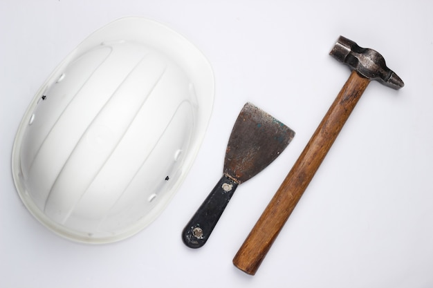 Safety builder equipment and work tool on a white background. top view.