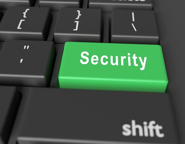 Safety concept. word security on button of computer keyboard. 3d rendering