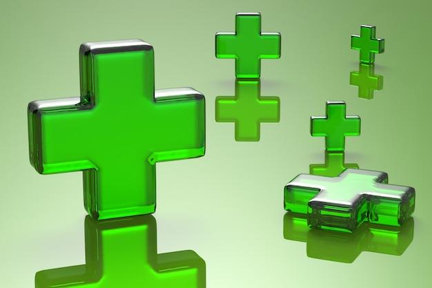 Первая помощь безопасности с зеленым крестом на зеленом фоне