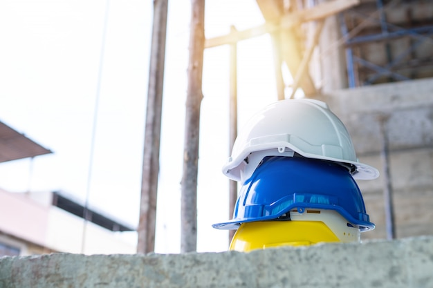 Safety helmets in construction site
