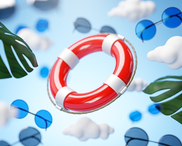 Safety life buoy ring flying on cloud sky holiday concept background 3d rendering