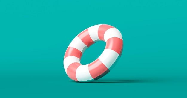 ライフガードベルトサポートオブジェクトを使用して、緊急航海用の安全な背景で救命または救命浮環を救うための安全リング。 3dレンダリング。