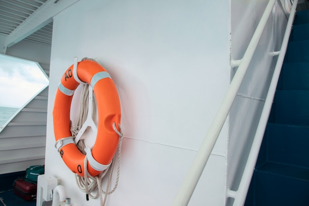 Safety torus ready for help on boat