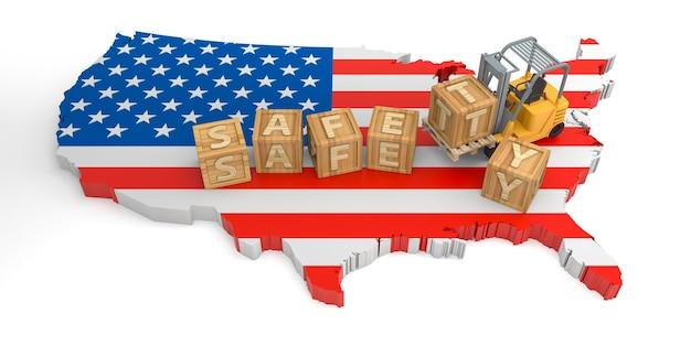 미국의 안전 나무 블록 텍스트. 3d 렌더링