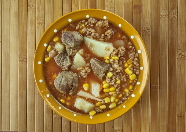 Sagamite -  native american stew made from hominy or indian corn ,vegetables, wild rice,