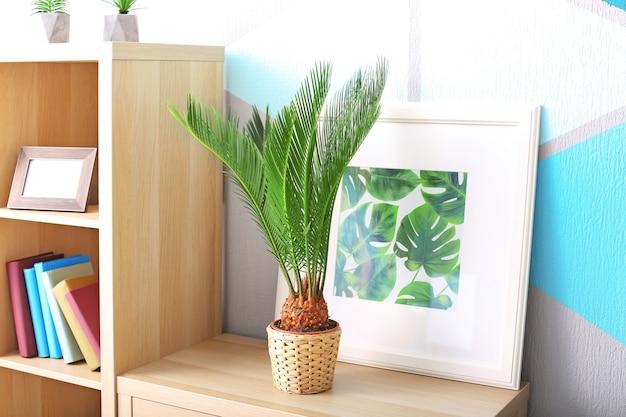 家の本棚にサゴヤシと熱帯の葉の額入り写真