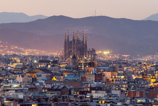 Sagrada familia of barcelona city at twilight