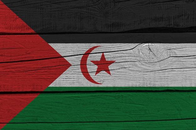 Sahrawi arab democratic republic flag painted on old wood plank