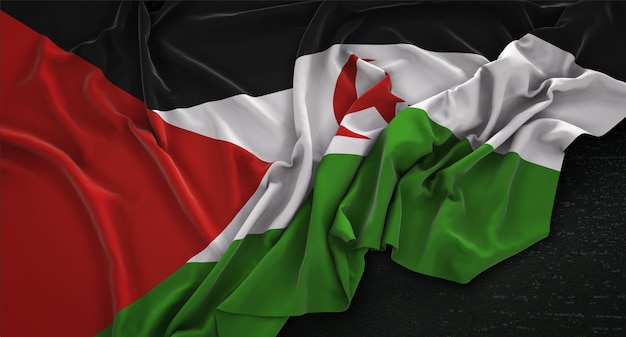 Sahrawi arab democratic republic flag wrinkled on dark background 3d render