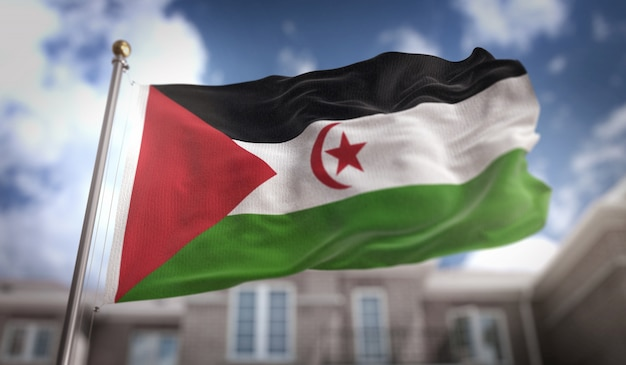 Sahrawi flag 3d rendering on blue sky building background