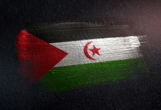 Sahrawi flag made of metallic brush paint on grunge dark wall