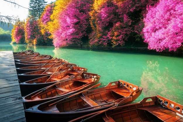 Sail boats parking in plitvice lakes croatia.