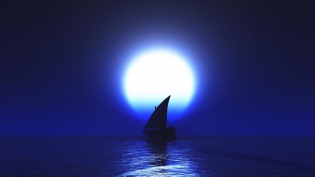 Sailboat illuminated by moon