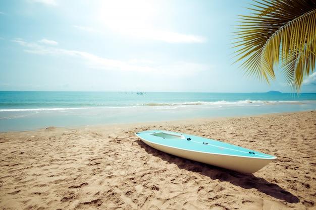 夏の砂の熱帯のビーチのヨット
