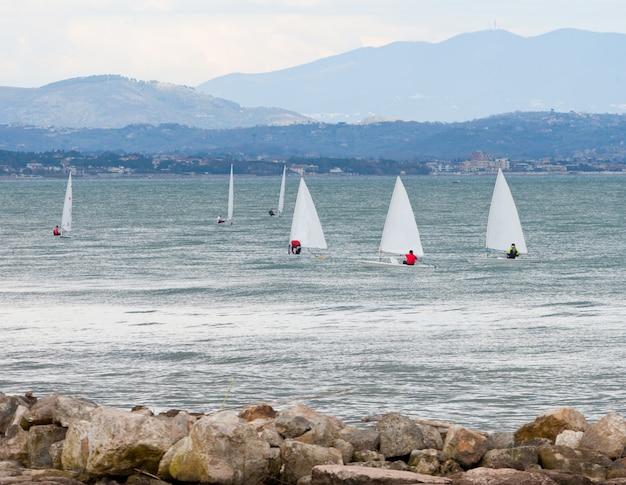 Sailboat racing on the sea.