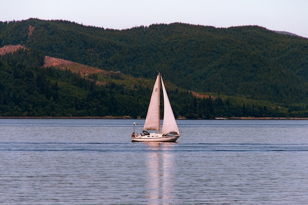 Sailboat sailing in a beautiful river with a forest on a steep hill