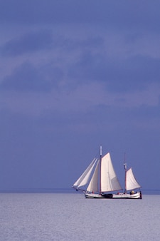 Sailboat in water, isselmeer, holland