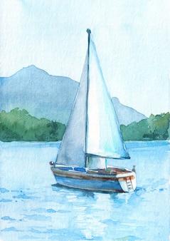 Парусник с белыми парусами в озере на фоне красивых гор.