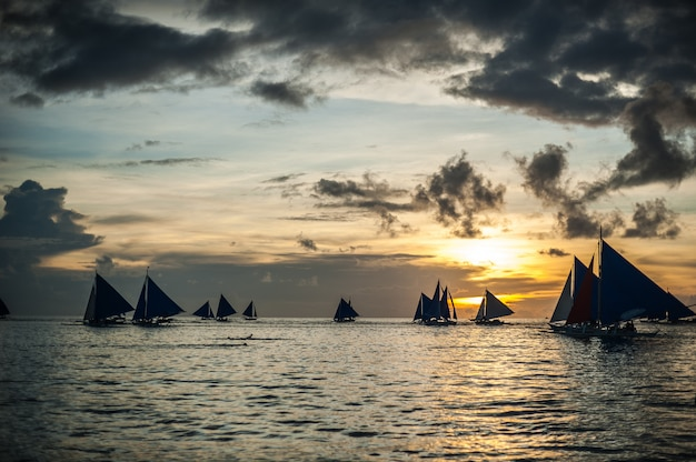 Sailboats at sunset, boracay island