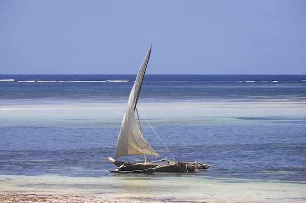 Sailing boat on diana beach, kenya, africa