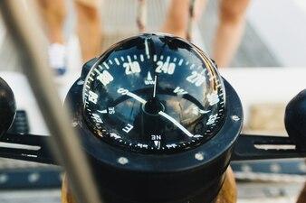 Sailing boat pilot following the compass