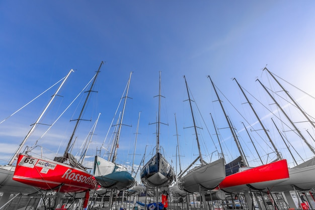 Sailing boats ready to be launched after winter storage.