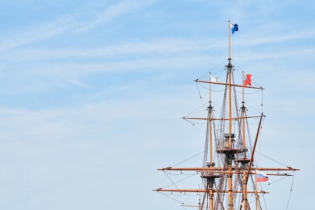 Sailing mast of ship, copy space