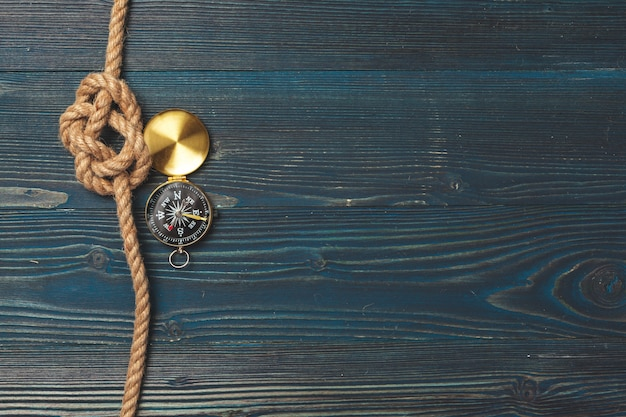 Sailing rope with a compass background