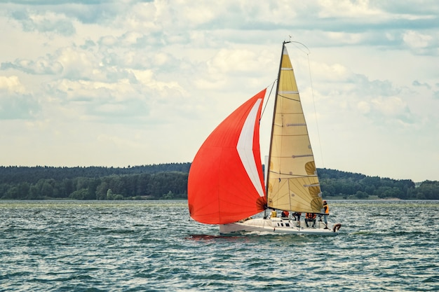 Sailing yacht goes to the bay