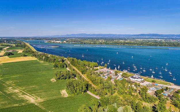 스트라스부르 남부의 라인강에서 요트 항해-grand est, 프랑스